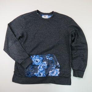 ON THE BYAS Gray Crew Sweatshirt Floral Pocket